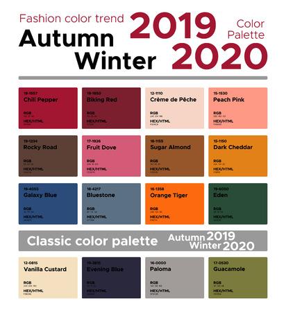 Illustration pour Fashion Color Trend Autumn Winter 2019-2020 and Classic Color Palette. Palette fashion colors with named color swatches. - image libre de droit