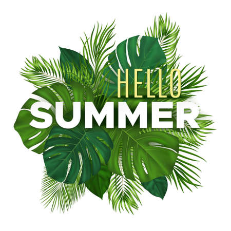 Illustration pour Summer tropical banner with green palm leaves on white background. Vector plant background for leaflet, banner, printing. - image libre de droit