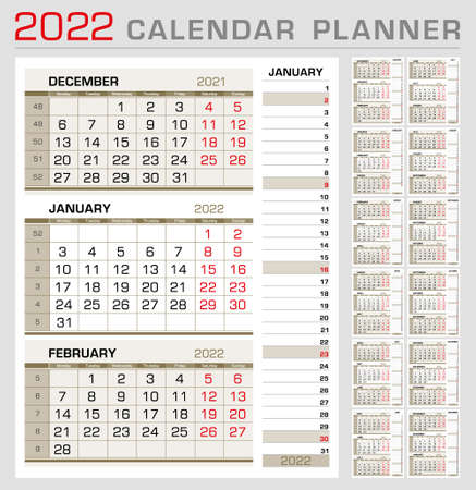 Illustration pour Calendar planner template 2022. Week start from Monday. 3 month calendar on page, with right stripe calender of the topical month. Ready for print. Vector Illustration - image libre de droit