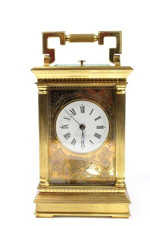 Foto de Antique Vintage Clock Pocket Watch on White Background - Imagen libre de derechos