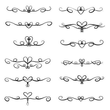 Illustration pour Heart Flourishes, Borders and Decorative Lines for Valentines Day or Weddings Vector Illustration - image libre de droit