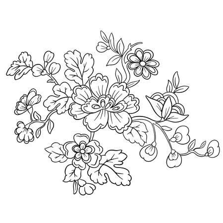 Illustration pour Vector Line Art Floral Flowers Tattoo Style for Valentines - image libre de droit