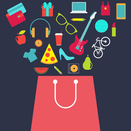Shopping bag with other purchase. Flat design vector background.