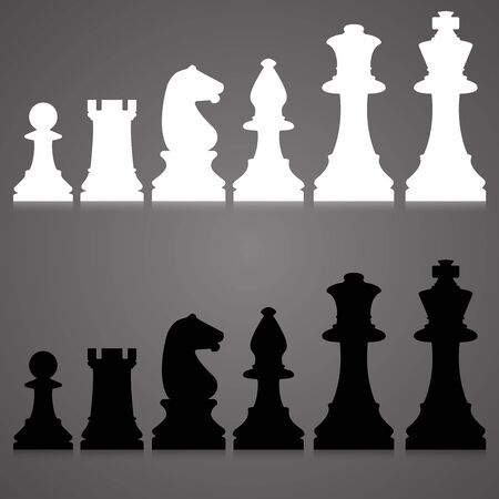 Editable silhouettes of a set of standard chess pieces