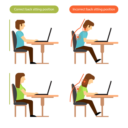 Illustration pour Correct and incorrect back sitting position at the workplace. - image libre de droit