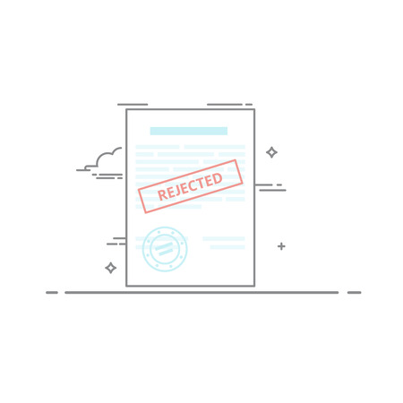 The concept of rejection of the document made in a linear style dark outline. Red stamp. Vector illustration isolated on white background