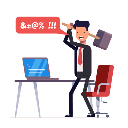 Illustration pour Broken computer with a blue screen of death. Computer virus. An angry businessman or manager with a sledgehammer in his hand expresses swearing. Flat illustration isolated on white background. - image libre de droit