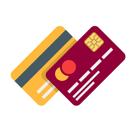 Ilustración de Banking or debit plastic card with shadow isolated on white background. Vector illustration in a flat style. - Imagen libre de derechos