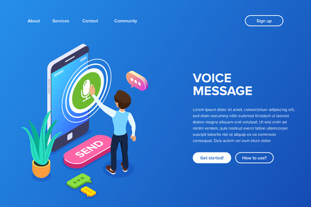 Illustration pour Isometric record voice message concept. A person records a voice or audio message using a mobile phone. Speech bubbles and a flower on the background of the smartphone. - image libre de droit