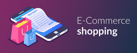 Illustration pour Online shopping with smartphone. E-commerce shoppin. Shopping bag and receipt on the background of a mobile phone. Vector 3d isometric illustration. - image libre de droit