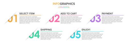 Illustration pour Concept of shopping process with 5 successive steps. Five colorful graphic elements. Timeline design for brochure, presentation, web site. Infographic design layout. - image libre de droit