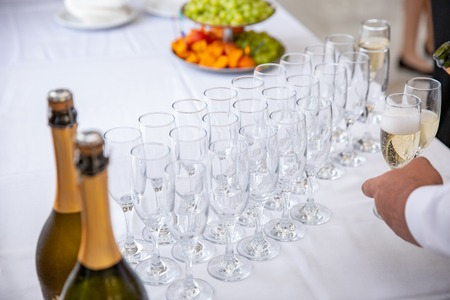 Empty Champagne Glasses on the table. event layout