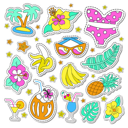 Illustration pour Hawaiian retro patch set. Fashionable pins 80s-90s style. Colorful drawings of fruits, drinks, beach wear, leaves, exotic flowers. EPS 10 vector illustration. - image libre de droit