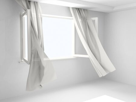 Window with the curtains developed by a wind.