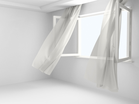 Open window with the curtains developed by a wind in an empty room.