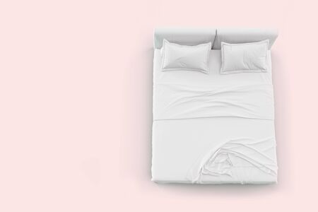 Photo pour 3d render top view of white bed with white pillow cover and white bed sheet and blanket for mockup with a pastel pink background - image libre de droit