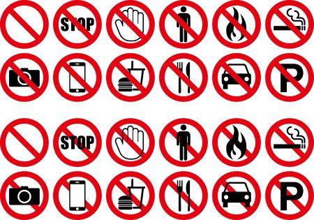 Illustration pour Prohibition warning icon illustration collection - image libre de droit