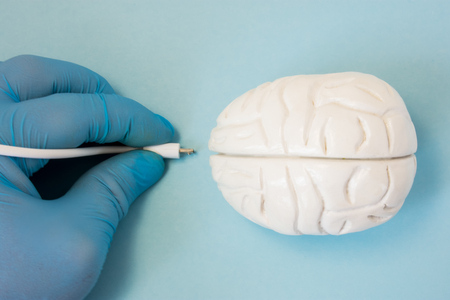 Photo for Brain and plug concept photo. 3D figure of human brain is next to hand of scientist or doctor in glove, which keeps plug connector to be inserted into organ for diagnostic or download information data - Royalty Free Image