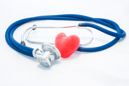 Photo pour Blue stethoscope and red heart lie on white homogeneous background. Concept photo of health or pathological condition of human heart, cardiac diagnosis of diseases of heart muscle, cardiac conduction - image libre de droit