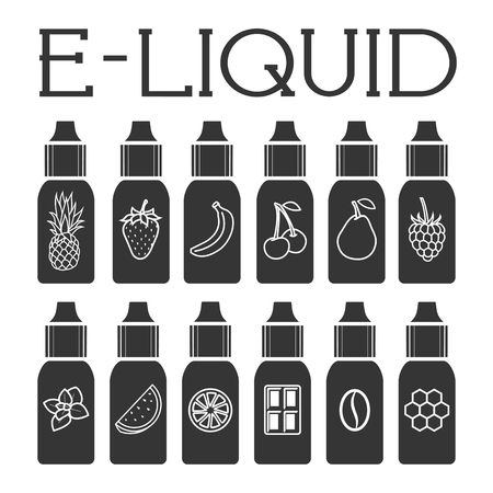 Vector E-Liquid illustration of different flavor. Liquid to vape