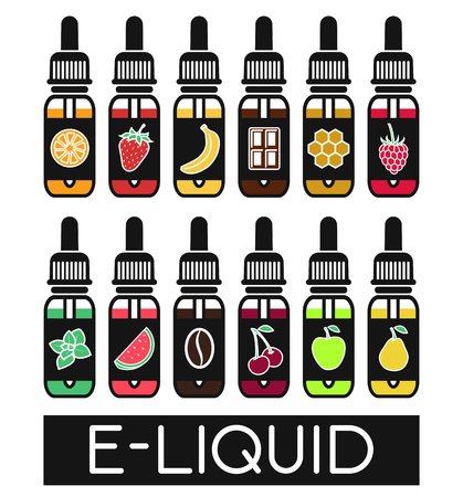 Illustration pour Icons of  E-Liquid. Vector E-Liquid illustration of different flavor.Liquid to vape. The taste of the electronic cigarette - image libre de droit