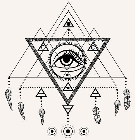 Navajo tattoo designs Southwestern Blackwork Tattoo Flash Dreamcatcher With Third Eye Feathers And Triangular Pyramid Tattoo Design Fotolia Vector Of Blackwork Tattoo Flash Id64861515 Royalty Free Image