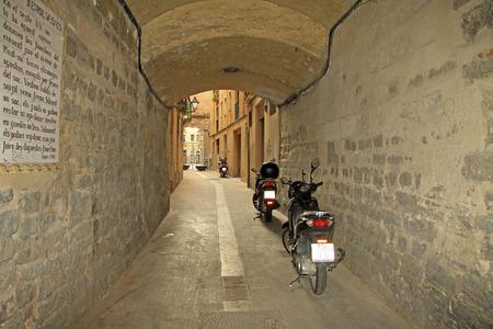 BARCELONA, CATALONIA, SPAIN - DECEMBER 14, 2011: Street in Ciutat Vella Old Town in Barcelona