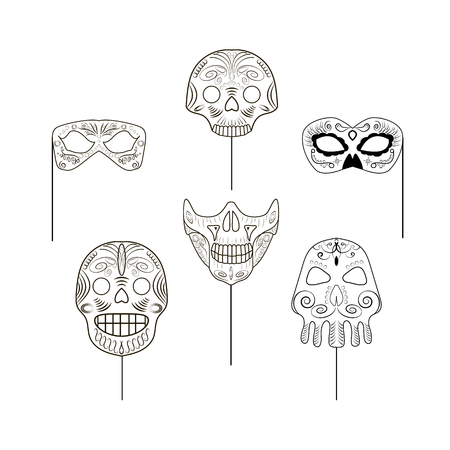 Illustration pour Set of black and white props in the form of skulls for a photo session on an isolated background. Vector illustration - image libre de droit