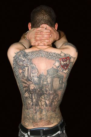 Tattoo on a back of the man