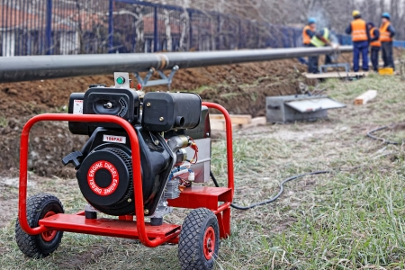 The portable diesel generator on site, emergency electric generator