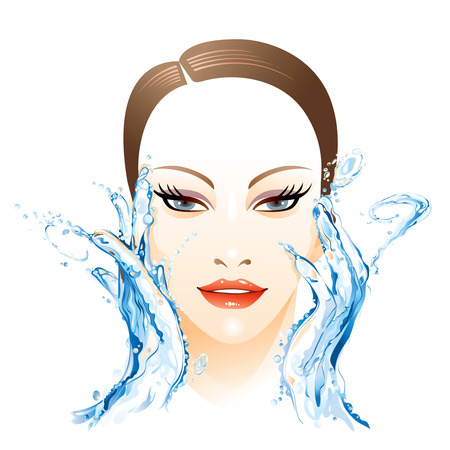 Illustration for Woman washing face - Royalty Free Image