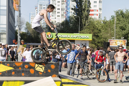 VOLGOGRAD - MAY 24: The BMX cyclist performs a stunt on the ramp. The fifth annual competition for the Cup of Europe city Mall. May 24, 2015 in Volgograd, Russia.