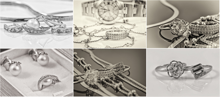 selection of black-and-white photos of gold and silver jewelry