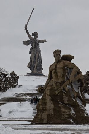 VOLGOGRAD - FEBRUARY 5: The memorial complex Mamaev Kurgan decorated with flags in honor of the anniversary of victory at Stalingrad. February 5, 2017 in Volgograd, Russia.