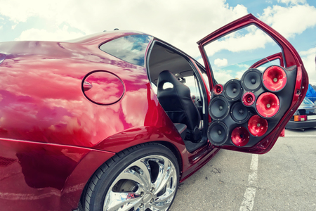 Photo for car with a large number of installed audio speakers and subwoofer - Royalty Free Image