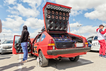 Photo for VOLGOGRAD - APRIL 21: Car with installed powerful subwoofer, amplifier and audio speakers to participate in car audio competitions. April 21, 2018 in Volgograd, Russia. - Royalty Free Image