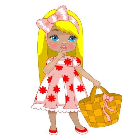 Ilustración de little girl with bag. illustration - Imagen libre de derechos