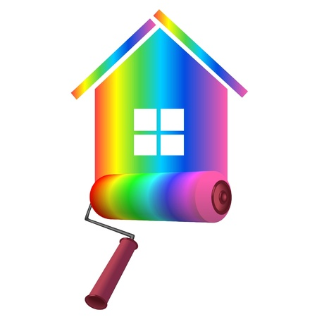 Illustration for roller on background color  at home - Royalty Free Image