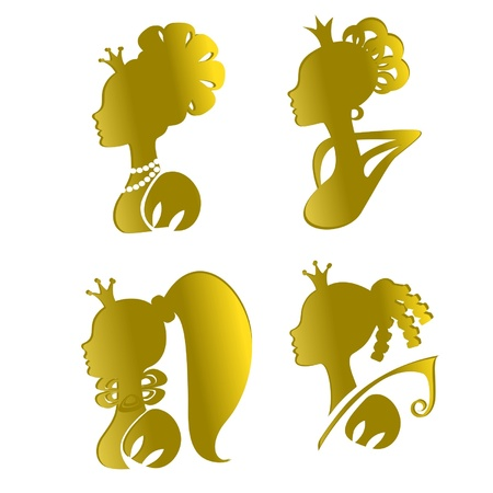Four gold silhouettes of princesses