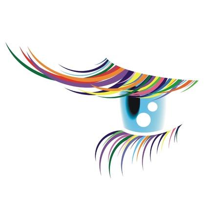 One eye with the coloured eyelashes