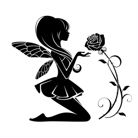 Illustration for Fairy with flower isolated on a white background - Royalty Free Image