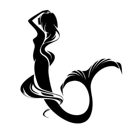 Illustration for A mermaid silhouette isolated on a white background - Royalty Free Image