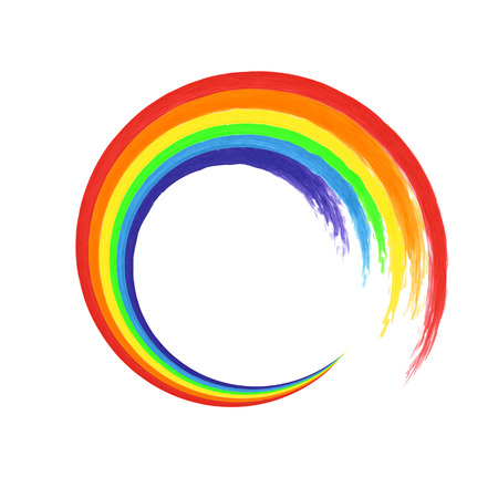 Illustration pour Brush stroke rainbow circle on white background  for your design. Watercolor. Vector illustration - image libre de droit