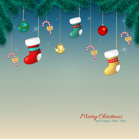 Christmas background. Cartoon Christmas greeting card with baubles, stocking and candy cane, tree branches.Template for Greeting card, Congratulations, invitations.Vector illustration