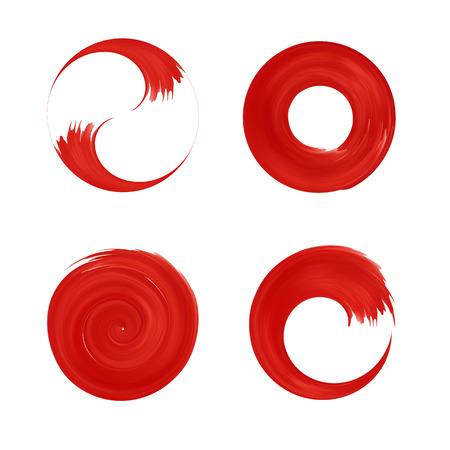 Ilustración de Set of red round element for design. Japan red circle.  Logo templates. Brush stroke swirls . - Imagen libre de derechos