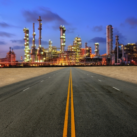 Petrochemical plant at sand desert