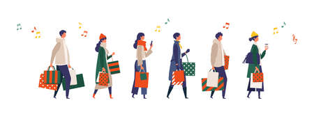 Illustration for Some people carrying shopping bags at Christmas. Man and woman taking part in seasonal sale at store, shop, mall. Flat cartoon colorful vector illustration. - Royalty Free Image