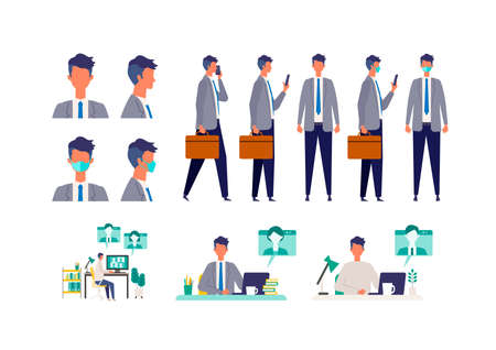 Illustration for Set of masked businessman in different poses. Concept for teleworking. Vector illustration in flat style. - Royalty Free Image