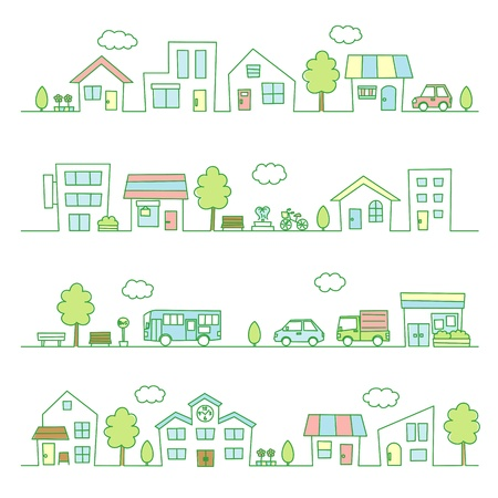 stores and houses on a street / green color