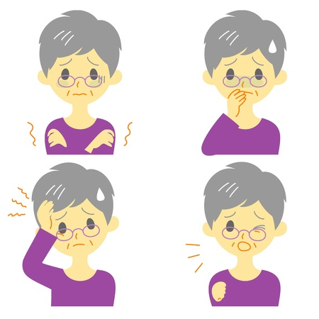 Disease Symptoms 01, fever and chills, headache, nausea, cough, expressions, old woman